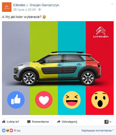 Citroen głosowanie za pomocą emoji reakcji facebook