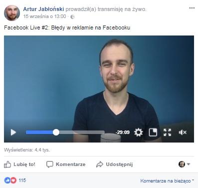 artur jabłoński live angażujące posty facebook