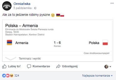 ormianska po przegranym meczu real time marketing