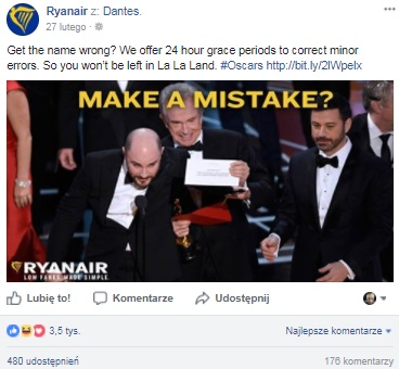 ryanair oskary real time marketing