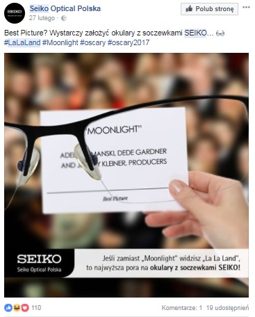 seiko okulary oskary real time marketing