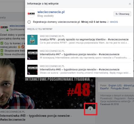facebook informacje o witrynie przy artykułach