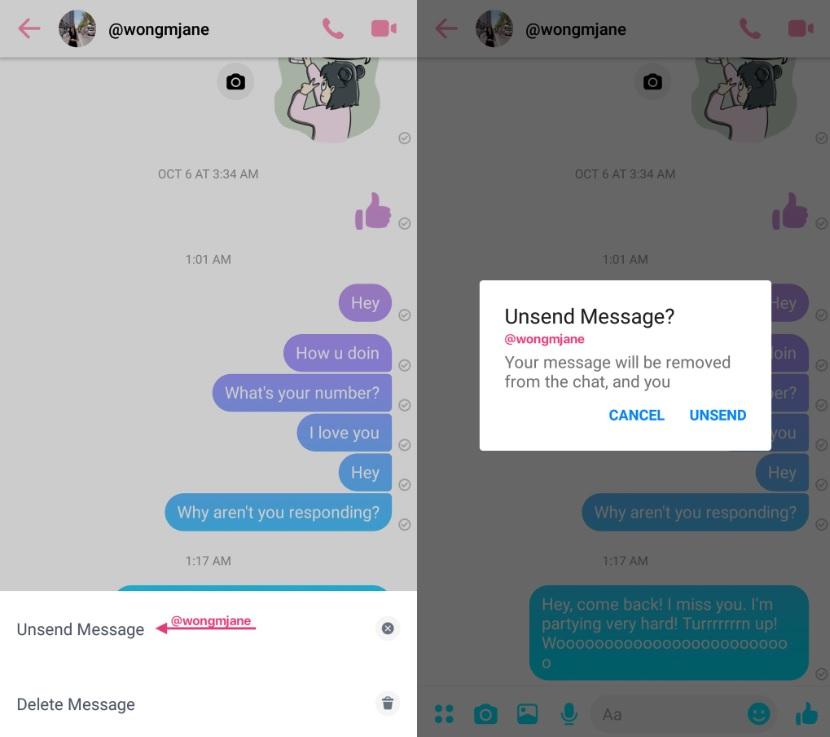 usuwanie wiadomości na messengerze