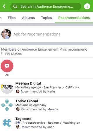 zakładka rekomendacje w grupach na facebooku