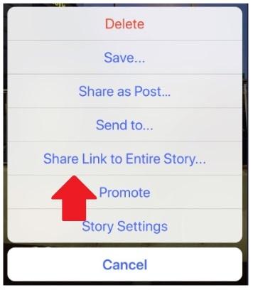 Udostępnianie Stories za pomocą linka