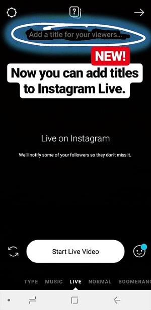 Tytuły w transmisjach na żywo na instagramie