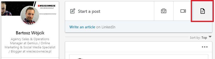 Linkedin wprowadza udostępnianie dokumentów