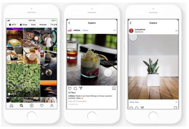reklamy w sekcji Explore na Instagramie