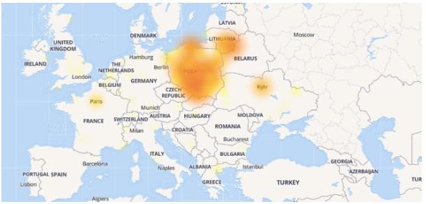 mapa awarii Facebooka