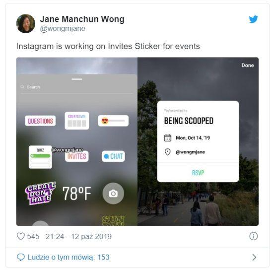 Instagram testuje naklejkę do zaproszeń na wydarzenia
