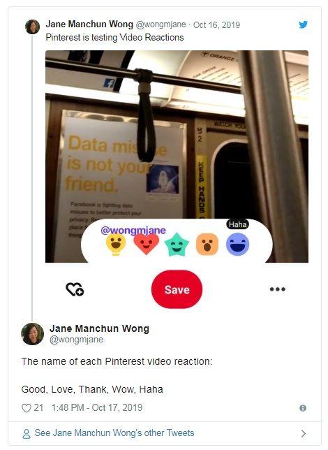 Pinterest wprowadza przyciski reakcji dla video