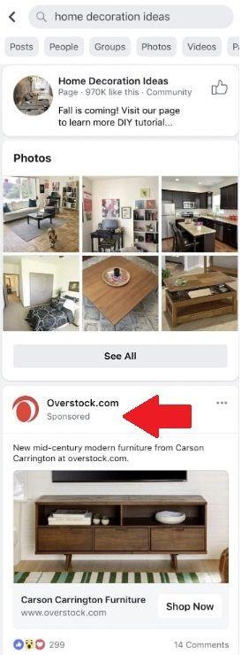 Reklamy w wynikach wyszukiwania na Facebooku
