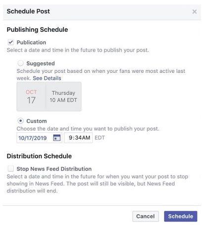 Facebook zasugeruje czas publikacji posta